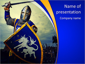 Medieval knight against hill full of crosses. PowerPoint Template