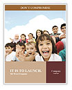 Crowd of children, sitting together happily Word Templates