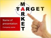 Target and market with hand over white PowerPoint Templates