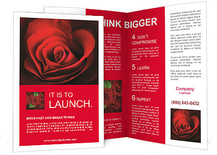 Valentine Red Heart Rose Brochure Template