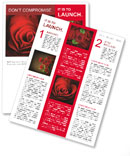 Valentine Red Heart Rose Newsletter Template