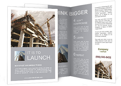 construction site with crane and building brochure template design