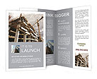 Construction site with crane and building Brochure Templates