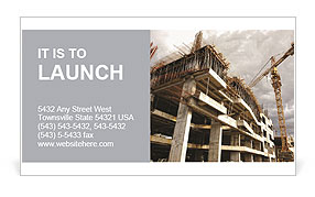 Construction site with crane and building Business Card Template