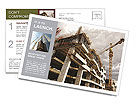 Construction site with crane and building Postcard Template