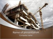 Construction site with crane and building PowerPoint Templates