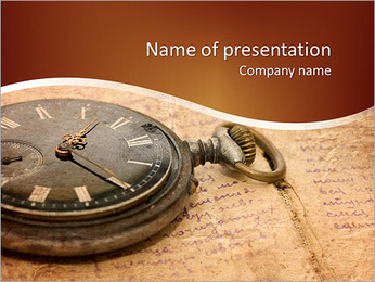 Watch on an old notebook with the text PowerPoint Template