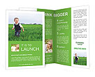 A cute little baby boy sit in the grass Brochure Templates