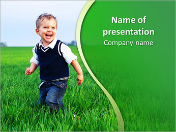 A cute little baby boy sit in the grass PowerPoint Template
