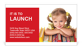 Little girl holding pile of books. Isolated. Business Card Templates