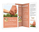 Father's hand lead his child son in summer forest nature outdoor, trust family concept Brochure Template