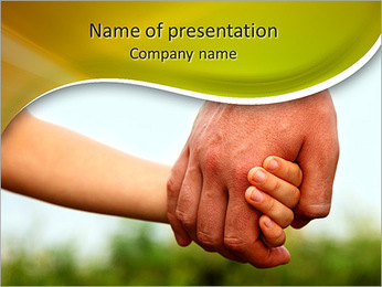 Father's hand lead his child son in summer forest nature outdoor, trust family concept PowerPoint Template
