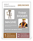 3d people - men , person with a clipboard. Engineer Flyer Template