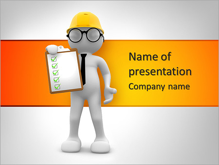 3d people - men , person with a clipboard. engineer powerpoint, Presentation templates