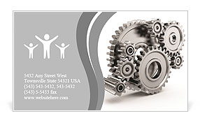 Steel gear wheels - tools and settings icon Business Card Templates