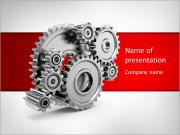 Steel gear wheels - tools and settings icon PowerPoint Templates