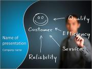 Business man writing concept of quality, efficiency, service and reliability make happy customer PowerPoint Templates