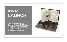 E-learning. Laptop screen as book on white background. 3d Business Card Template