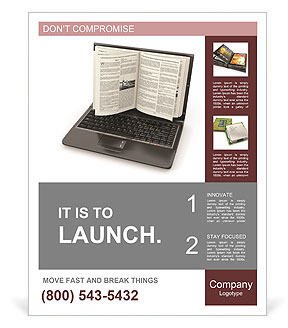e learning laptop screen as book on white background 3d poster