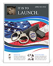 Police badge, gun and handcuffs on an American flag symbolizing law enforcement in the United States Flyer Templates