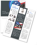 Police badge, gun and handcuffs on an American flag symbolizing law enforcement in the United States Newsletter Template