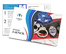 Police badge, gun and handcuffs on an American flag symbolizing law enforcement in the United States Postcard Template