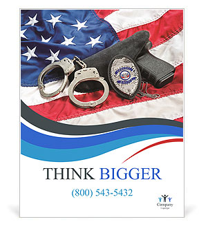 Police badge gun and handcuffs on an american flag symbolizing police badge gun and handcuffs on an american flag symbolizing law enforcement in the united states poster templates toneelgroepblik Image collections