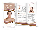 Beautiful woman's face with tan. clean skin - isolated on white Brochure Templates