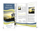 Silhouette of couple winners on sky background. Sport and active life Brochure Templates