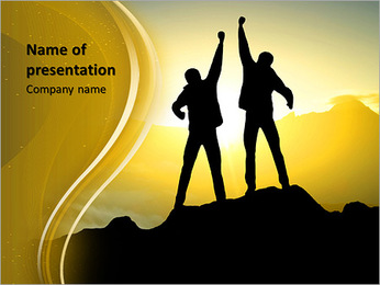 Silhouette of couple winners on sky background. Sport and active life PowerPoint Template