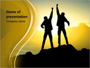 Silhouette of couple winners on sky background. Sport and active life PowerPoint Templates