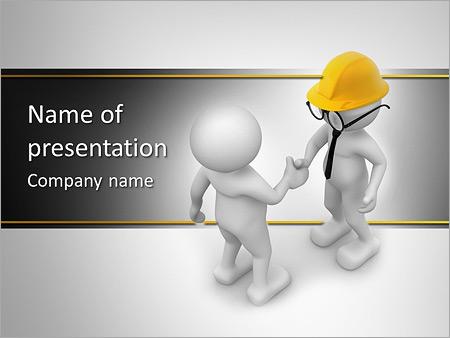 3d people - men , person and helmet . handshake. engineer, Presentation templates