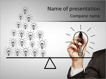 Hand drawing a contrast of light bulbs PowerPoint Template