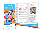 Group of happy teen school child with book. Isolated. Brochure Templates
