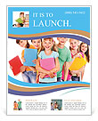 Group of happy teen school child with book. Isolated. Flyer Template