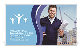 Portrait of an handsome young architect Business Card Template