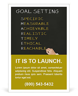 Business hand writing concept of smarter goal or objective setting - specific - measurable - achiev Ad Template