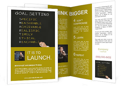Business hand writing concept of smarter goal or objective setting - specific - measurable - achiev Brochure Template