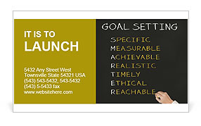 Business hand writing concept of smarter goal or objective setting - specific - measurable - achiev Business Card Template