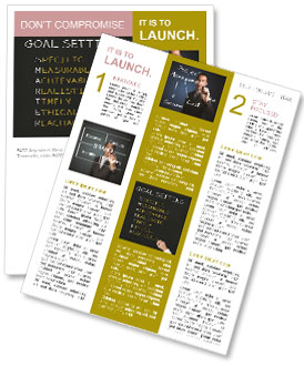 Business hand writing concept of smarter goal or objective setting - specific - measurable - achiev Newsletter Template