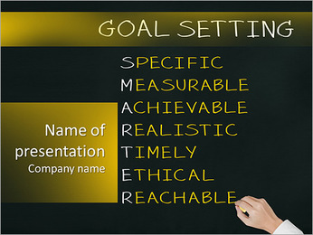 Business hand writing concept of smarter goal or objective setting - specific - measurable - achiev PowerPoint Template - Slide 1