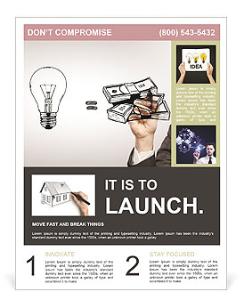 Hand drawing idea is money concept Flyer Template