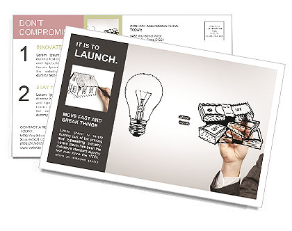 Hand drawing idea is money concept Postcard Template