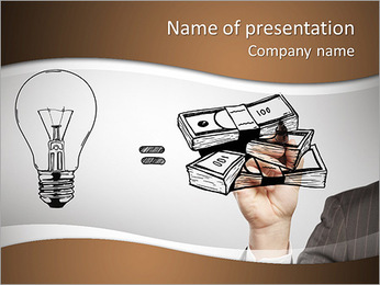 Hand drawing idea is money concept PowerPoint Template