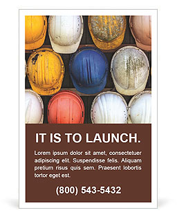 Old and worn colorful construction helmets Ad Template
