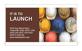 Old and worn colorful construction helmets Business Card Template
