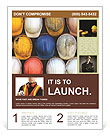 Old and worn colorful construction helmets Flyer Template