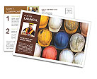 Old and worn colorful construction helmets Postcard Template