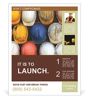 Old and worn colorful construction helmets Poster Template