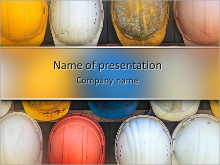 Old and worn colorful construction helmets PowerPoint Templates